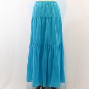 Talbots Silk & Cotton Blend Tiered Maxi Skirt